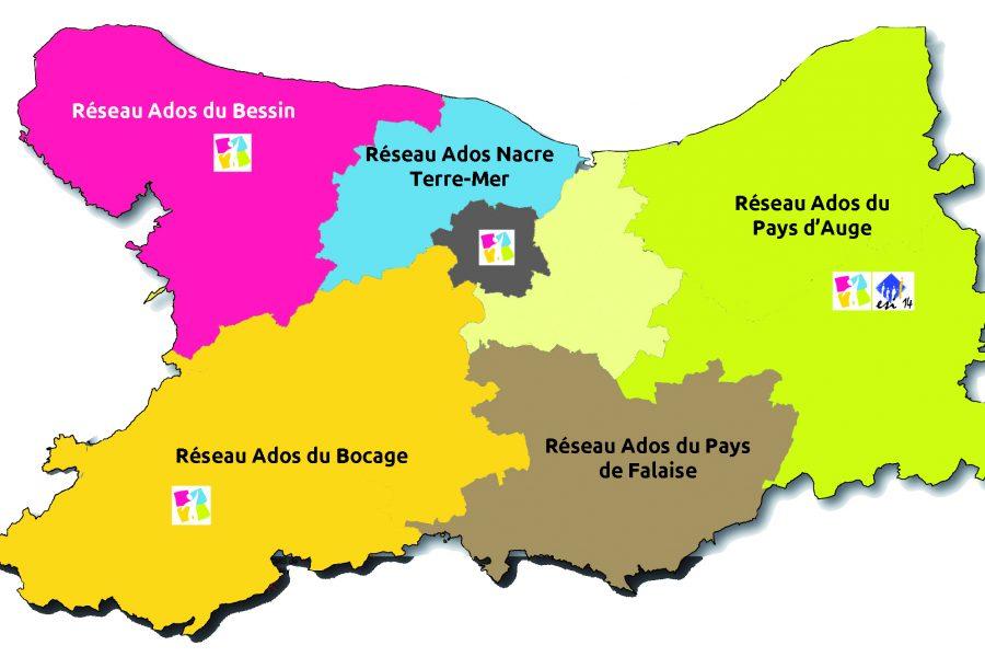 Carte des circonscriptions sociales du Calvados