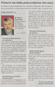 Interview de Patrick Genvresse sur la prévention du suicide chez les adolescents
